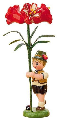 Kleine Figuren & Miniaturen Blumenkind Junge mit Amarylis - 11cm - Hubrig Volkskunst