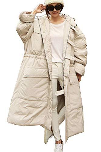 Damen Daunenmantel Herbst Winter Lang Oversize Boyfriend Apparel Kapuzenmantel Loose Mode Elegante Hipster Steppjacke Normallacks Langarm Mit Taschen Reißverschluss Jacken Mantel