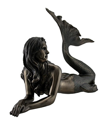 Resin Statues Large Bronze Finish Mermaid Statue 25 Inches Long 20 X 17 X 10 Inches Bronze