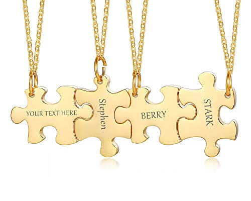 XUANPAI Personalised Customized Stainless Steel Matching Puzzle Pendant Lover Family Best Friend Friendship 4 Pieces Engraving Necklace Gift Unisex