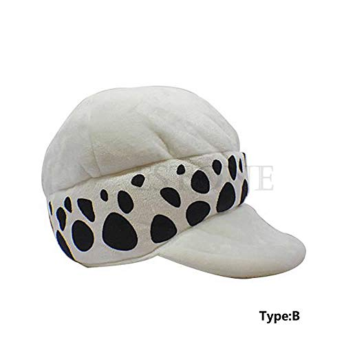 CADANIA Cosplay Hat Anime Doctor One Piece Trafalgar Law Cap Blanco