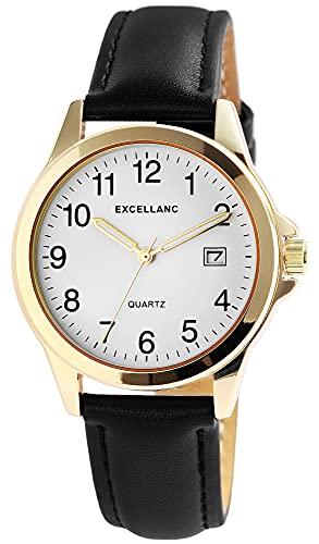 Excellanc Reloj de pulsera para hombre, color blanco, negro, dorado, analógico, fecha, piel sintética, clásico, de cuarzo