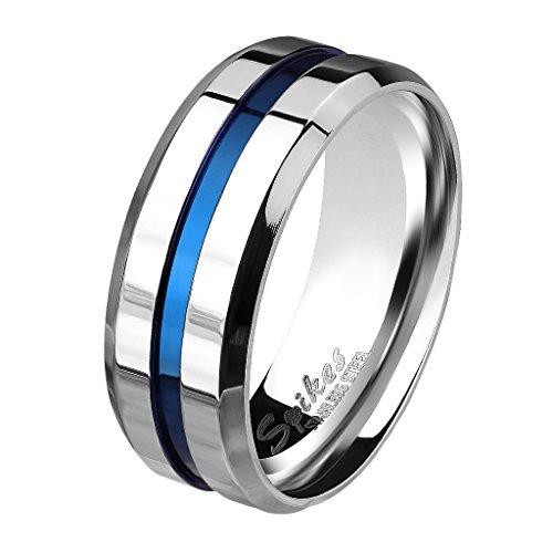 Mianova Herren Band Ring Bandring Edelstahl poliert Zwei Ton Silber mit blauen Inlay Männer Biker Rocker massiv breit Herrenring Größe 62 (19.7)