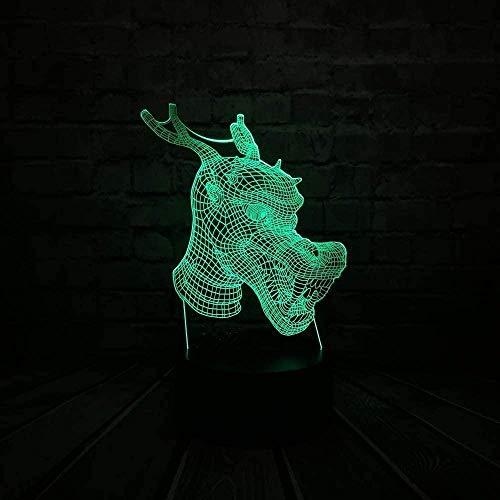 Luz de noche pequeña diversión 3D carga USB brillante animal grifo ilusión LED decoración del sueño del bebé humor de mesa luz de noche pequeña juguete de regalo del día de los niños