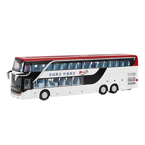 Ruining Juego de Juguetes de Regalo, autobús de aleación, Juguete para niños, Modelo de Coche, Juguete de autobús de Dos Pisos, 1:50, Juguete de autobús eléctrico para niños(White Red)