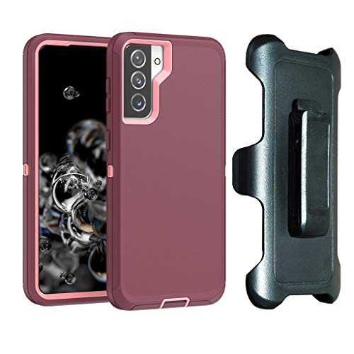 HIQUE Defense Case for Samsung Galaxy S21 ,[NO Screen Protector][Heavy Duty][Drop Protection] Tough Case with Belt Clip Holster for Galaxy S21- Burgundy