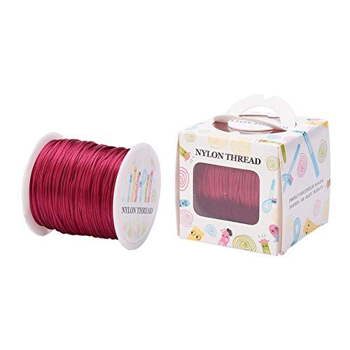 Cheriswelry 70 m 1 mm cuerda de satén de nylon Rattail nudo chino recorte cuerda de envolver para joyería DIY collar pulsera macramé artesanía recorte, color rojo oscuro