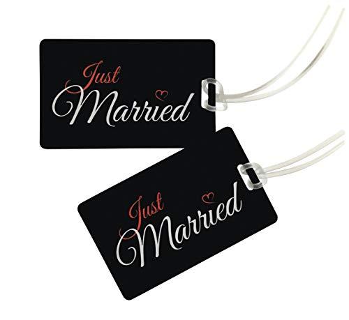 Honeymoon Kofferanhänger JUST MARRIED - Gepäckanhänger Hochzeitsreise - Koffer Tags Hochzeitsgeschenk, Hochzeitsdeko - Geschenk Junggesellenabschied, Bachelor Party - 2 Stck. (Set) - Schwarz/Schwarz