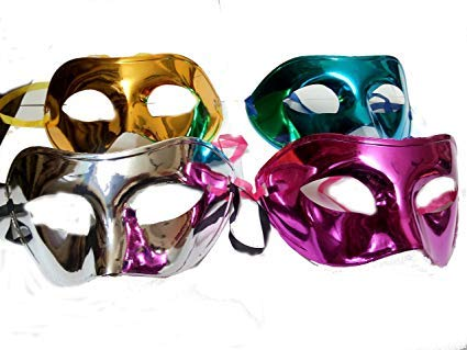 HOME REPUBLIC- Pack of 6 Colouful Eye Mask for Halloween/ Xmas Party ,Birthday Party/Adult Party for Men and Women Masquerade Ball Mask Venetian Party (
