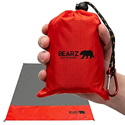 BEARZ Outdoor Beach Blanket, Waterproof Picnic Blanket 55?x60? - Lightweight Camping Tarp, Compact Pocket Blanket, Festival Gear, Sand Proof Mat for Travel, Hiking, Sports - Packable w/Bag