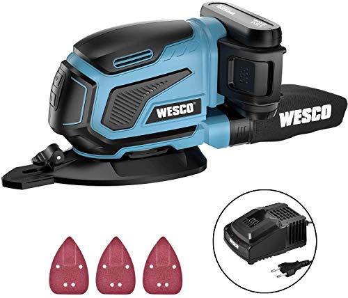 WESCO Lijadora Eléctrica, Lijadora Mouse de 18V Batería de 2.0Ah Recargable,...