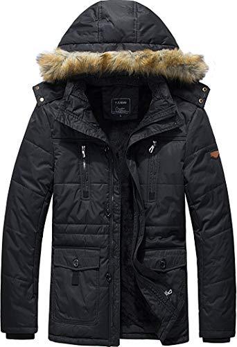 Vcansion Men's Ourdoor Winter Thickening Windbreaker Removable Hood Jacket Coat Black S