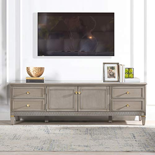 "JTH Luxe Troy 71"" TV Stand Storage Console Table, Grey Cashmere Wood"