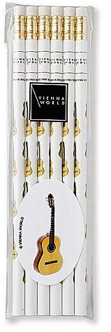 Bleistifte mit Radiergummi, Motiv: Gitarre, 6er-Pack