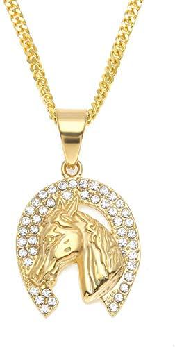 NC122 Anhänger Halskette Schmuck Männer Vakuumieren Diamant Kopf Hip Hop Edelstahl Farbe Ornament Pferd Geschenk