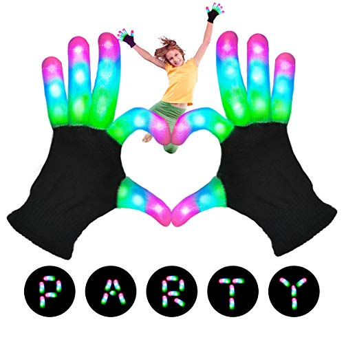 POPCHOSE LED Light Up Gloves, Flashing LED Gloves 3 Colors 6 Modes Finger Light Gloves Rave Glow Gloves Teens Kids Light Up Toys for Christmas Costumes Dance Party Halloween Birthday
