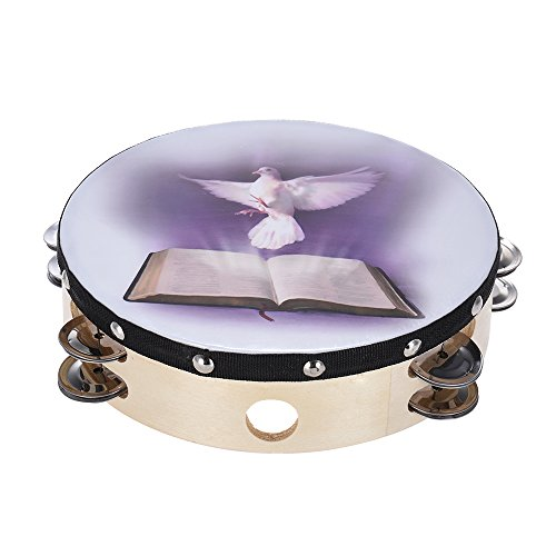 """RuleaxAsi 8""""Double Row Jingle Tambourine Handbell Clap Drum Percussão Instrumento com Dove & Bible Pattern for Church"""