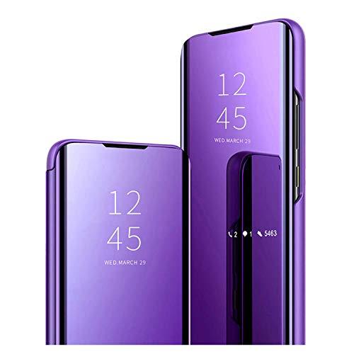 GOGME Funda para Samsung Galaxy A32 5G (Not for 4G Edition), Mirror Funda Inteligente, PU PC Flip Soporte Plegable Espejo Enchapado Window View Protectora Carcasa. Azul Morado