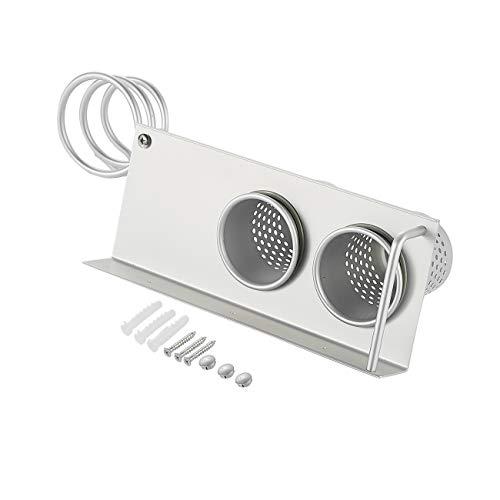 Cmstop Organizador de almacenamiento de aluminio, organizador para colgar con 2 tazas para plancha plana, varita rizadora, alisadores de pelo, cepillos