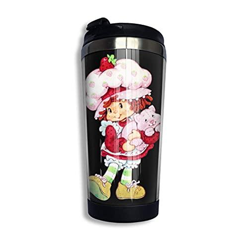 DJNGN Erdbeer-Shortcake-Vanillepudding-Kaffee-Reisebecher-Tasse tragbarer vakuumisolierter Becher aus rostfreiem Stahl 13,5 Unzen