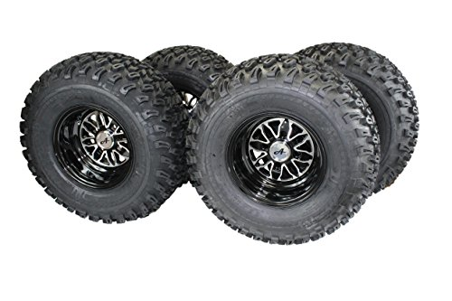 22x11.00-10 with 10x7 Fusion Glossy Black Wheels for Golf Cart (Set of 4)