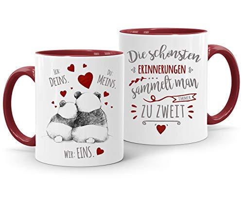 Moonworks® Kaffee-Tasse Panda Ich Deins Du Meins Wir Eins Liebes-Geschenk Liebesbeweis Geschenkidee Freund Freundin Die schönsten Erinnerungen bordeauxrot Keramik-Tasse