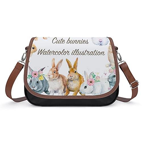 Borse per le donne MultiPocket Crossbody Bag Elegante Messenger Borsa a tracolla, Carino Coniglio, Bianco-stile-9, Taglia unica