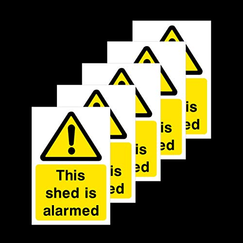 5x This Shed is Alarmed Self Adhesive Stickers 200x300mm