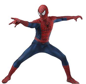 LuckB Superhero Spandex Costume Cosplay 3D Zentai Full Bodysuit Halloween Adult/Kids 3D Style  Mens-L Blue