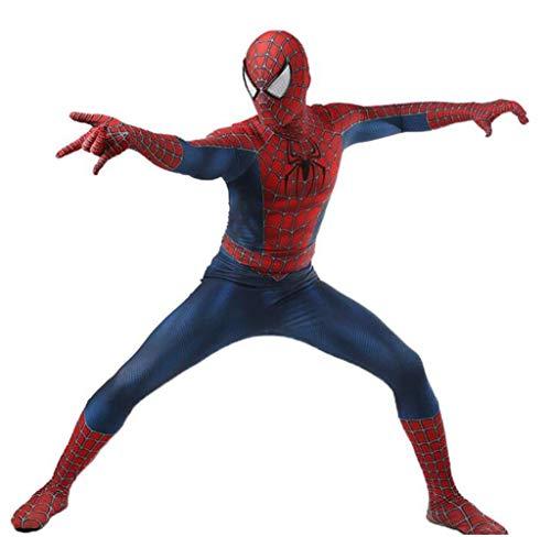 LuckB Superhero Spandex Costume Cosplay 3D Zentai Full Bodysuit Halloween Adult/Kids 3D Style (Mens-M, Blue)