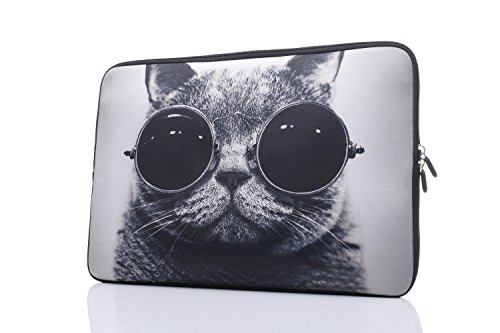YIDA 13.3-Inch to 14-Inch Laptop Sleeve Case Neoprene Carrying Bag with Hidden Handles for MacBook/Notebook/Ultrabook/Chromebooks (Grey cat)