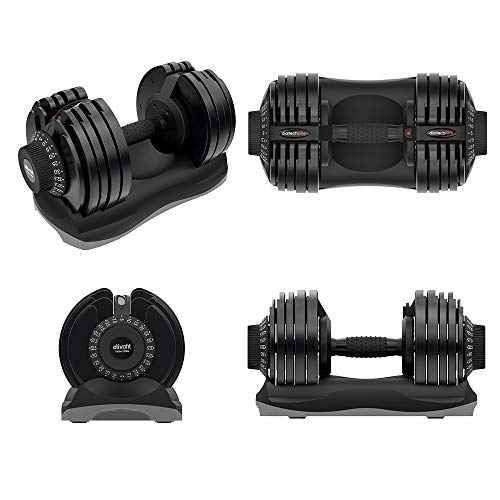ATIVAFIT Adjustable Dumbbell 71.5 Pounds Fitness Dial Dumbbell with Handle and Weight Plate for Home Gym 1 PCS