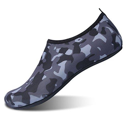 L-RUN Men Women Barefoot Quick-Dry Water Sports Sock Grey L(W:8.5-9.5,M:7-7.5)=EU39-40