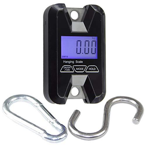 QAZAKY - Báscula digital portátil de bolsillo, resistente, doble gancho, para colgar, Smart Balance de 60 kg, 100 110 130 libras