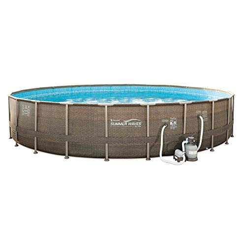 Summer Waves All Round 24ft x 52in Elite Frame Pool with Wicker Print Exterior