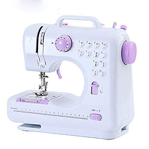 JEWAYTEC Mini máquina de coser eléctrica sobrehilado, 12 puntadas, 2 velocidades, pedal de pie, luz LED, máquina de coser – pequeña herramienta de costura doméstica para principiantes y niños
