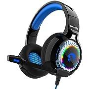 Gaming Headset, UNIOJO Gaming Kopfhörer Deep Bass Surround Stereo Klang LED Licht Lautstärkeregler für PC, mit 2 zu 1 Adapter für PS4, Nintendo Switch, Xbox One, Weihnachten Geschenk für Männer