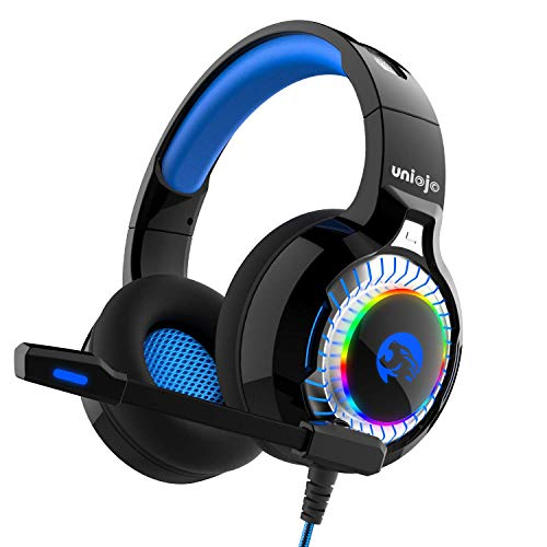Gaming Headset, UNIOJO Kopfhörer Deep Bass Stereo Klang Headphone mit Mikrofon LED Licht Lautstärkeregler für Nintendo Switch, Playstation 4, Laptop, Mac, mit 1 zu 2 Adapter für PC(blau)
