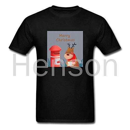 Henson Interessant Print Elk Stempel Vrolijk Kerstmis Zwart Katoen Casual Losse mannen Short-Sleeved T-Shirt
