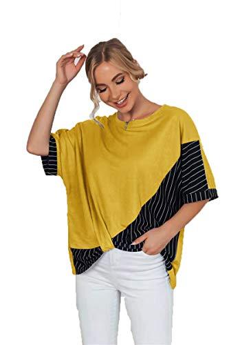 SLYZ Mujeres Europeas Y Americanas, Verano, Tallas Grandes, Costura Suelta, Camiseta A Rayas para Mujer, Top