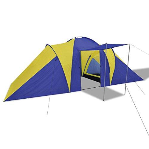 vidaXL Tente de Camping 6 Personnes Bleu Marine Jaune Randonnée Extérieur