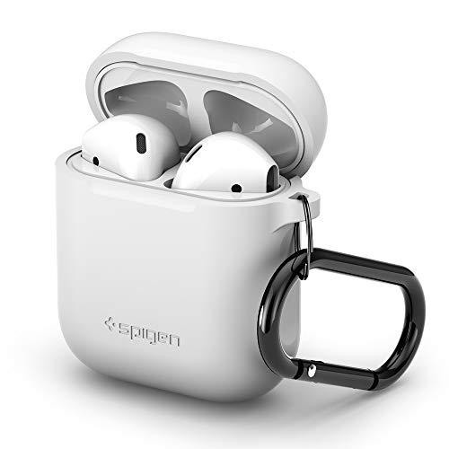 Spigen Silicone Fit Progettato per Apple Airpods 1 & 2 Custodiar [LED frontale non visibile] - Bianca