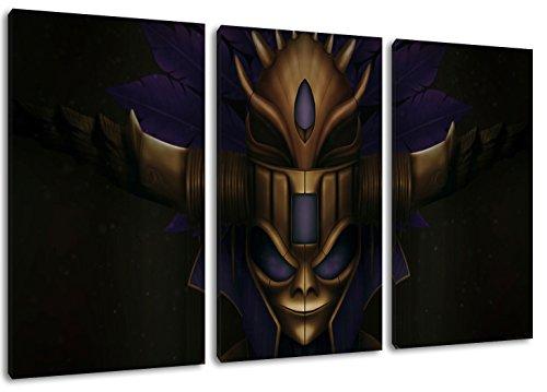 Dark Diablo 3-Teilig auf Leinwand, Gesamtformat: 120x80 cm fertig gerahmte Kunstdruckbilder als Wandbild - Billiger als Ölbild oder Gemälde - KEIN Poster oder Plakat