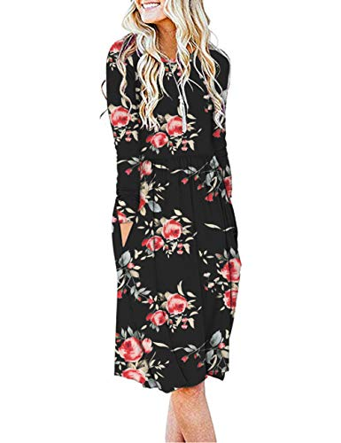 AUSELILY Women's Long Sleeve Pockets Empire Waist Pleated Loose Swing Casual Flare Dress (L, H Rose Black)