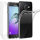 ivoler Funda para Samsung Galaxy A3 2016 + 3 Unidades Cristal Templado, Transparente TPU Silicona Anti-Choque Anti-arañazos [Carcasa + Vidrio Templado] Protector de Pantalla y Caso