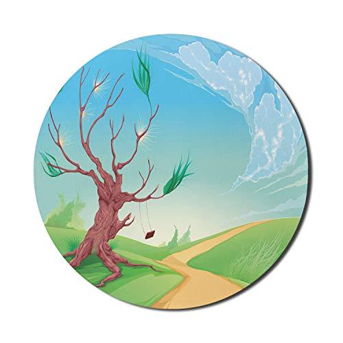 Alfombrilla de ratón de paisaje para ordenadores, paisaje romántico con árbol y un columpio en la carretera Path in Wind estampado de dibujos animados, alfombrilla de ratón redonda antideslizante de g