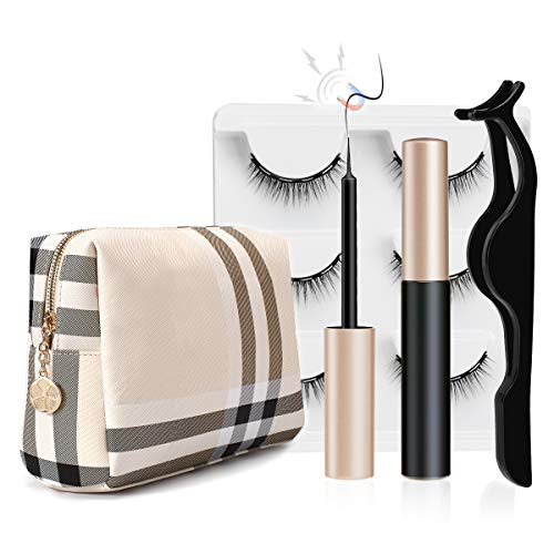 Luxury Makeup Bag for Purse Large Women Cosmetic Bags for Toiletry Travel with 1 Set Magnetic Eyelashes with Eyeliner (Beige 1)