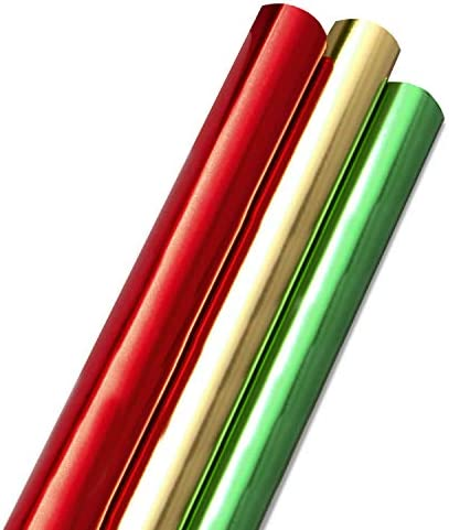 Hallmark Foil Holiday Wrapping Paper with Cut Lines on Reverse 3 Rolls 60 sq ft ttl Solid Red product image