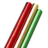 Hallmark Foil Holiday Wrapping Paper with Cut Lines on Reverse (3 Rolls: 60 sq. ft. ttl) Solid Red, Green, Gold