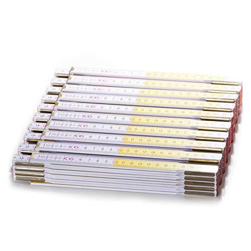 Zollstock Set 10 Stück zum Bestpreis. 10er Meterstab Set aus Buchenholz mit 2m länge und wechselnden Farben